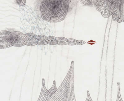 Comet Bearing Ancient Ice And Rain Pencil Stitching And Technical Pen On Paper 19X 19Cm £195