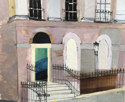 Cowan Corner Of Gloucester Place Mixed Media On Paper 19 X 18 Cm