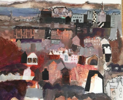 Cowan Looking From Blackford Towards The Castle Mixed Media On Paper 18 X 17 Cm £325