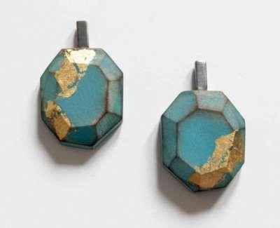 Cristina Zani My Seoul Oxidised Gold And Turquoise Earringsweb