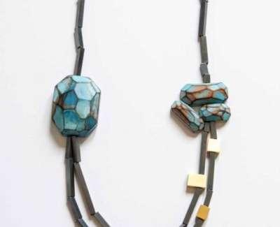 Cristina Zani My Seoul Oxidised Gold And Turquoise Necklaceweb