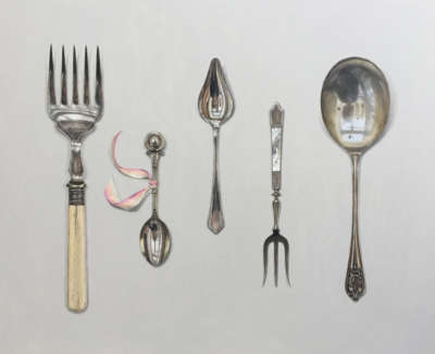 Cutlery Arrange With Silk Ribbon