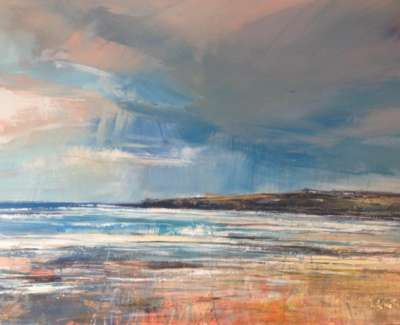 Dark Sky Causeway Coast Mixed Media With Gold Leaf 59 X 84 Vm