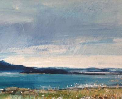 Dark Sky Sound Of Mull Mixed Media With Gold Leaf 12 X 28 Cm