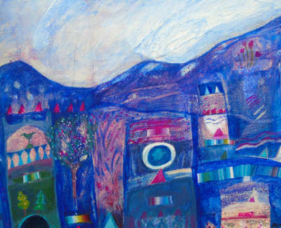 Diana Hope  Blue Remembered Hills  Acrylic On Board 15 X 21 Cm £290 00