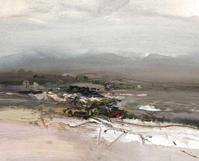 Distant Highlands Oil On Board 40 X 30 Cm