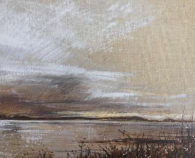Dusk Sound Of Iona Chalk And Pen On Linen Board 18 X 24 Cm