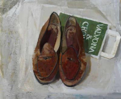 Edinburgh Shoes Alexander Mc Call Smith Oil On Board 30 X 38 Cm