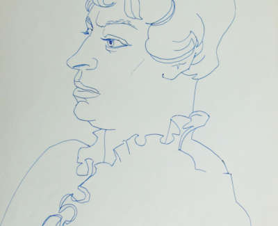 Eve Gross Kits Study 3 August 1961 Pen On Paper 37 X 26Editedwebweb