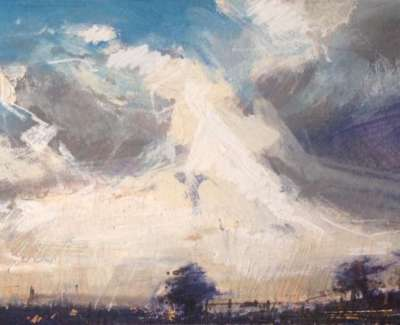 Evening Clouds Mixed Media With Gold Leaf 11 X 30 Cm
