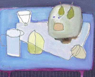 Fiona Macrae  Purple Pea Tazza  Oil On Paper