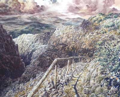 Far Away Over Mountains And Piercing Swords Crete  Watercolour On Paper 2020 66X48Cm