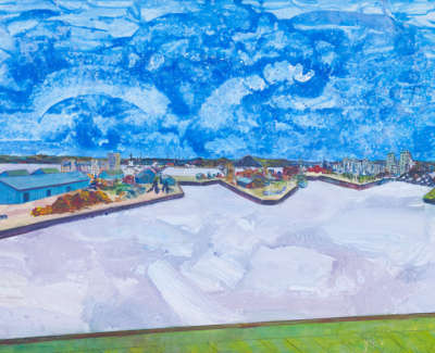 Firth Of Forth Leith Docks From Ocean Terminal Acrylic On Card 90 X 64 Cm £1000