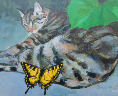 George Donald Rsa Rsw  Cat And Swallowtail £350 00Web