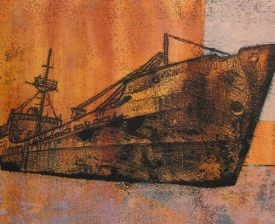 Georgina Bown  Rust Series Iv  One Off Monotype And Collage 15 X 21 Cm £210 00