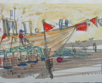 Glen Scouller Rsw Rgi  Boats And Markers Algarve  Watercolour And Board £500 00Web