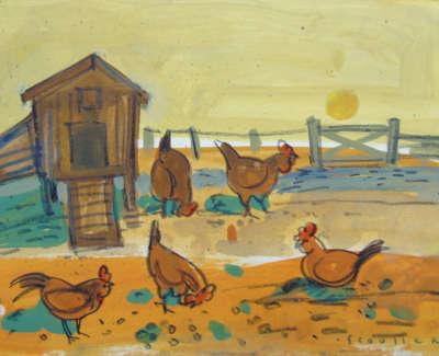 Glen Scouller Rsw Rgi  On The Farm  Gouache On Baord £350 00Web