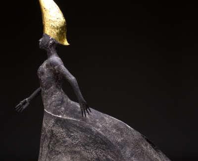 Gold Walking Woman Stoneware 59Cm H