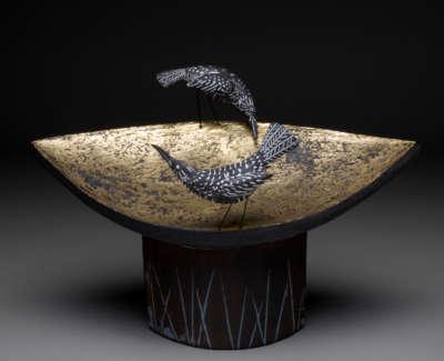 Golden Bird Table Stoneware And Golf Leaf 36Cm L
