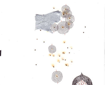 Gyroscope Storm Foil Burnt Holes And Technical Pen On Paper 19 X 19Cm £195