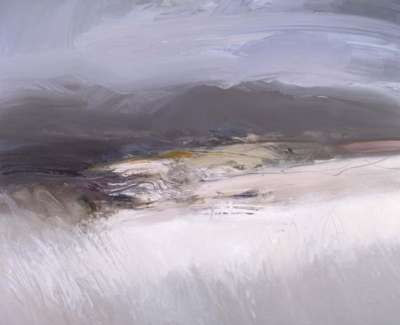 Harvested Fields Distant Cairngorms Oil On Canvas 150 X 120