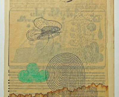 Heather Eliza Walker  Celery  Old Book Page Japanese Tissue Mixed Media 21 X 15 Cm £205 00