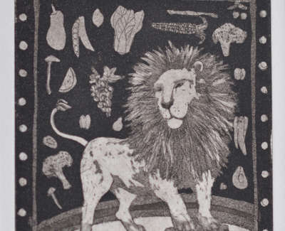 Helen Wilson Rsw Rgi Pai The Vegetarian Lion Etching 15 X 10 Cm