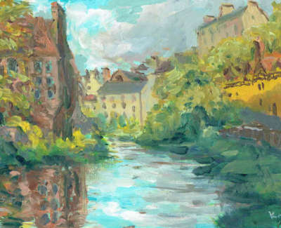 Henry Kondracki Dean Village  Oil On Board £410 00