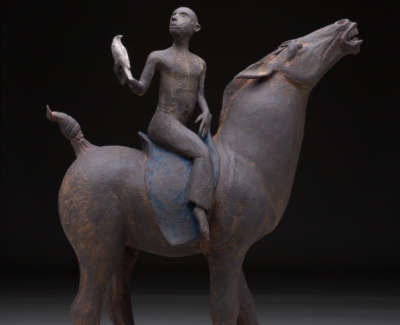 Horse Hawk Man I Stoneware 43Cm H