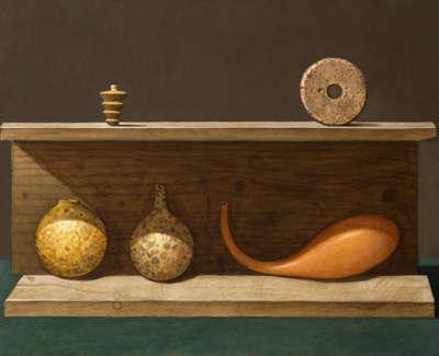 James Fairgrieve Rsa Rsw Hiding Gourds Acrylic On Gesso On Board 46 X 76 Cm £3500