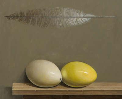 James Fairgrieve Rsa Rsw Ians Eggs Rhea Acrylic On Gesso On Board 46 X 46 Cm £2900