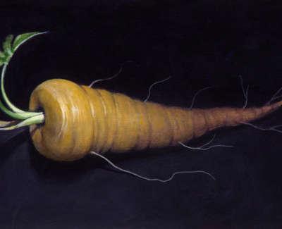 James Fairgrieve  The Last Parsnip  Acrylic On Gesso On Board 14 5 X 20 Cm £1200 00