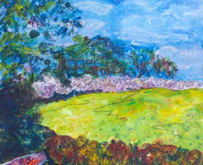 Japanese Garden Lauriston Castle Acrylic On Board 30 X 30 Cm £400