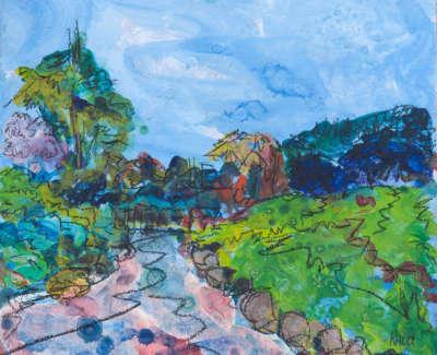 Japanese Pond Lauriston Castle Acrylic On Board 15 X 15 Cm £275