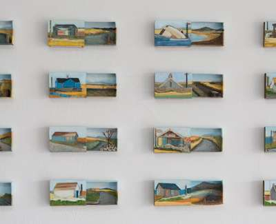 Jayne Stokes Orcadia' Acrylic Collage And Found Objects In Scottish Souvenir Matchboxes 43 X 70Cm £1000