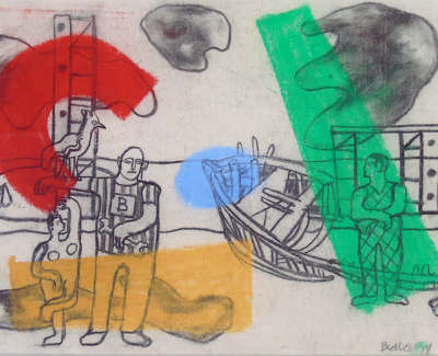 John Bellany  Boat Workers Golspie Iii 1963  Conte Crayon And Pastel Poa