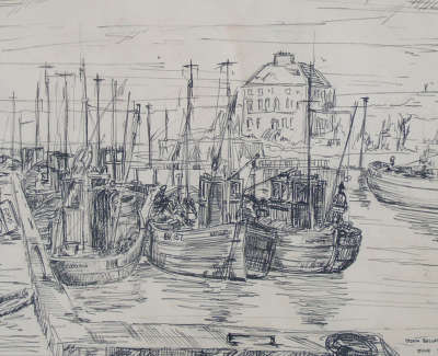 John Bellany  Eyemouth Harbour 1960  Drawing 28 X 38 Cm Poa