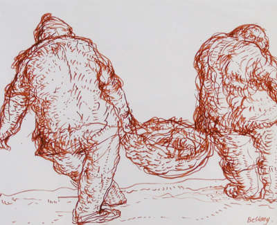 John Bellany  Fishers 1964 22 5 X 35 5 Cm Red Conte Drawing  Poa