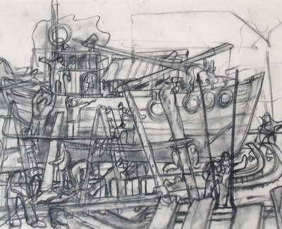 John Bellany  The Boatbuilders 1963  Conte Drawing 38 X 56 Cm Poa