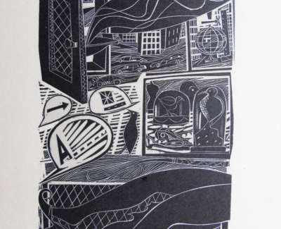 Jonathan Gibbs Comic Incident Wood Engraving On Board £85 00Web