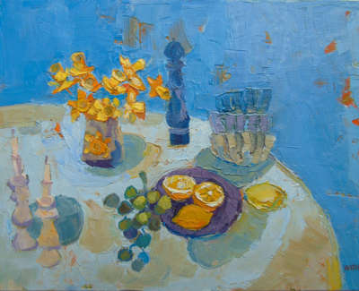 Kirsty Wither Sunny Arrangments  Oil On Board £425 00