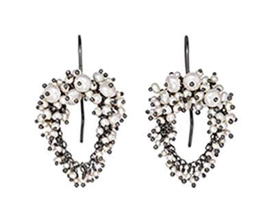 Kate Wood  Pearl Encrusted Loop Earrings