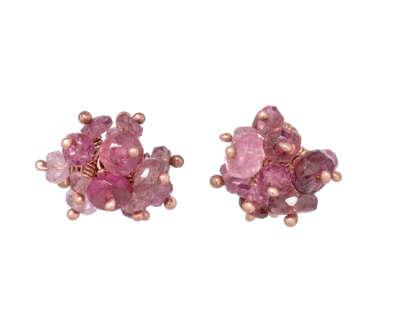 Kate Wood  Pink Tourmaline Pompom Stud Earrings