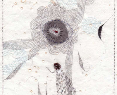 Kindly Flowler Head Conversation Burnt Holes Pen And Stitching On Paper 19 X 19Cm £195