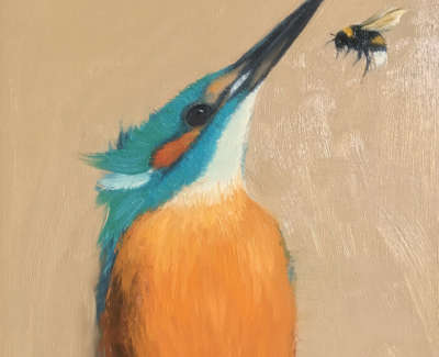 Kingfisher With One Bee 15 X 15 Cm Op