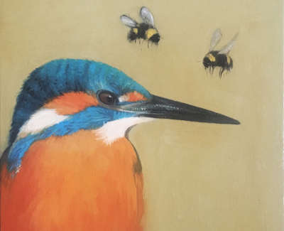 Kingfisher With Two Bees Op 15 X 15 Cm