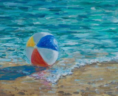 Kondracki Beach Ball  Oil On Jute 60 X 84 Cm £2700 00