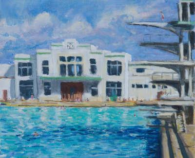 Kondracki High Dive  Acrtlic On Canvas 45 X 50 Cm £2000 00