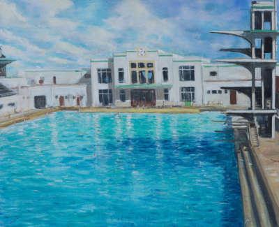Kondracki Portobello Pool  Acrylic On Canvas 117 X 145 Cm £5700 00