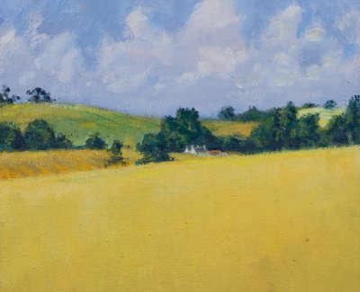 Kondracki Yellow Field  Oil On Jute 42 5 X 42 5 Cm £1700 00